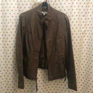 Dress Barn Brown Size Large Faux Moto Jacket